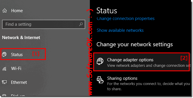 Find in Windows 10: change network adapters settings!