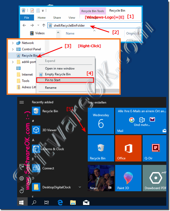 Place the recycle bin in the Windows 10 Start menu!