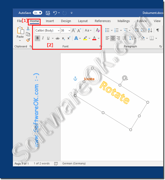 Create a Diagonal ergo Rotate Text in Word!