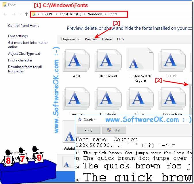 Preview fonts installed in Windows 10!