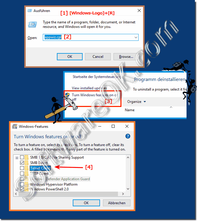 Activate / deactivate the TelNet client under Windows 10, 8.1, ...!