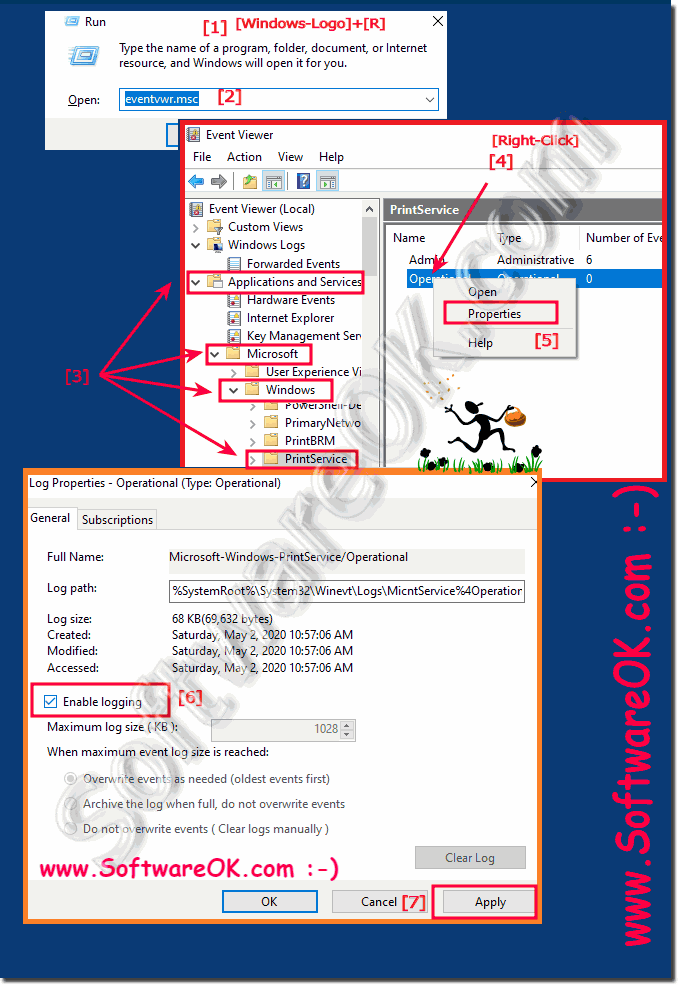 Enable in Event Viewer Protokol for Print-Jobs on all Windows!