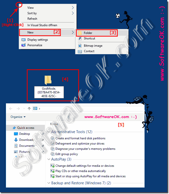 Windows 10  Activate classic God Mode System Settings folder!