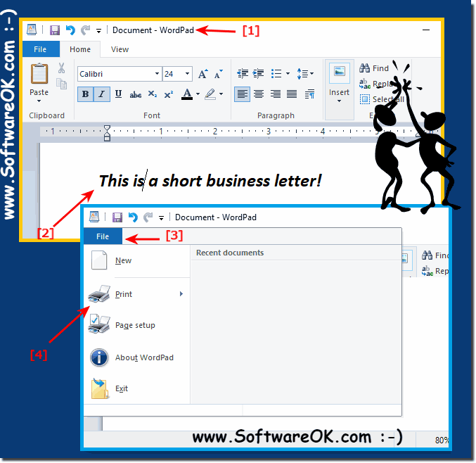 Writing a short busines letter and print on Windows 10!