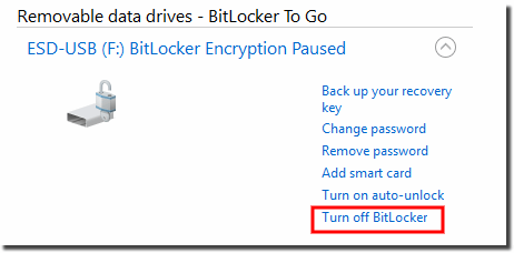 Disable Bitlocker for a drive!