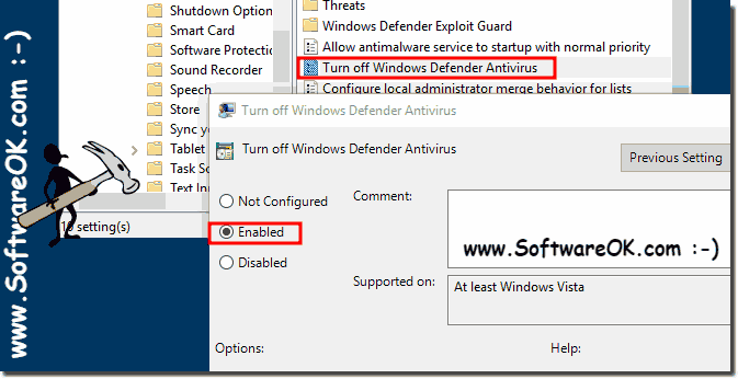 Permanently Turn off the Windows/10 Defender!