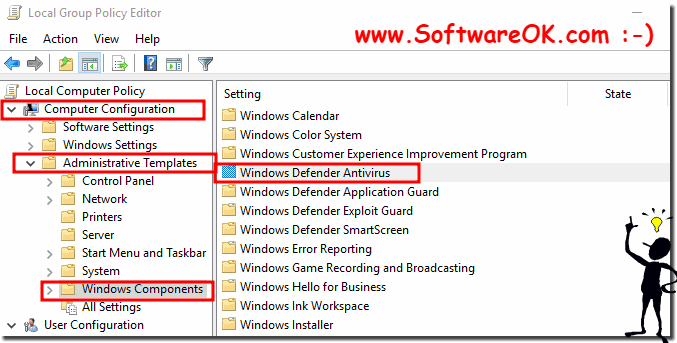 Windows 10 Components Defender Settings!