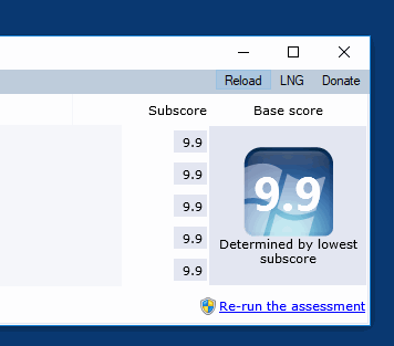 Windows Experience Index reading, recalculate