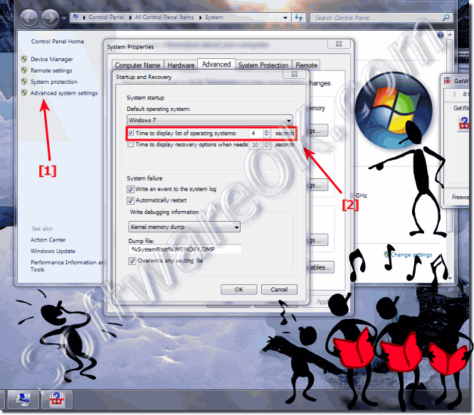 How to change Time to display list of operating systems in win 7?