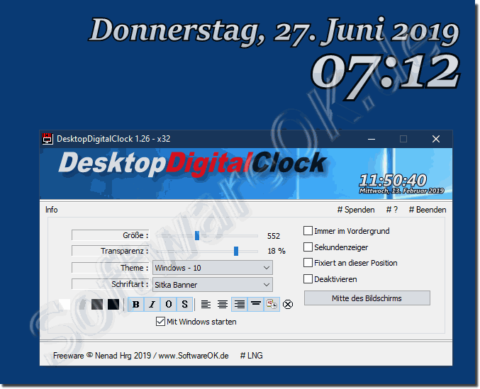 Simple Digital Desktop Clock on Windows 10, 8.1, 7!