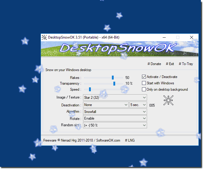 Windows desktop falling Stars example!