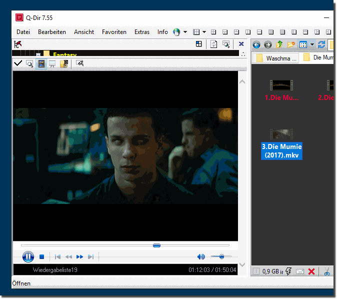 Watch video files directly in the Quad Explorer under Windows 10!