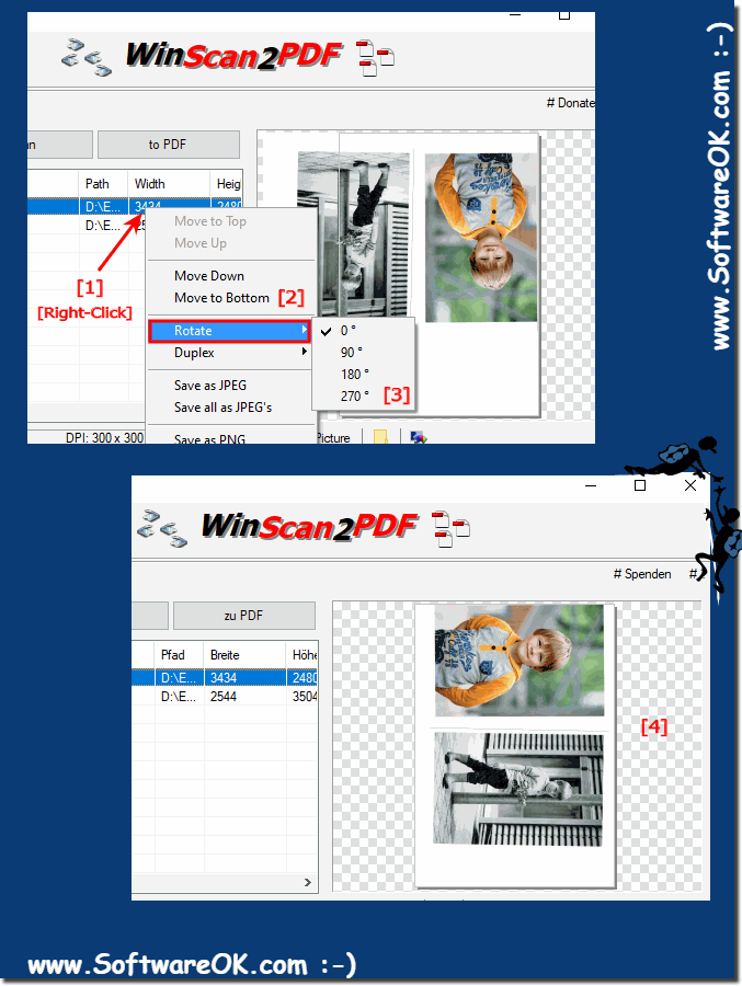 Rotate the image or scan before create PDF!