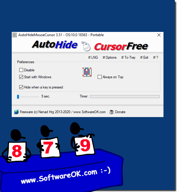 Hide system mouse pointer on MS Desktop and Server!