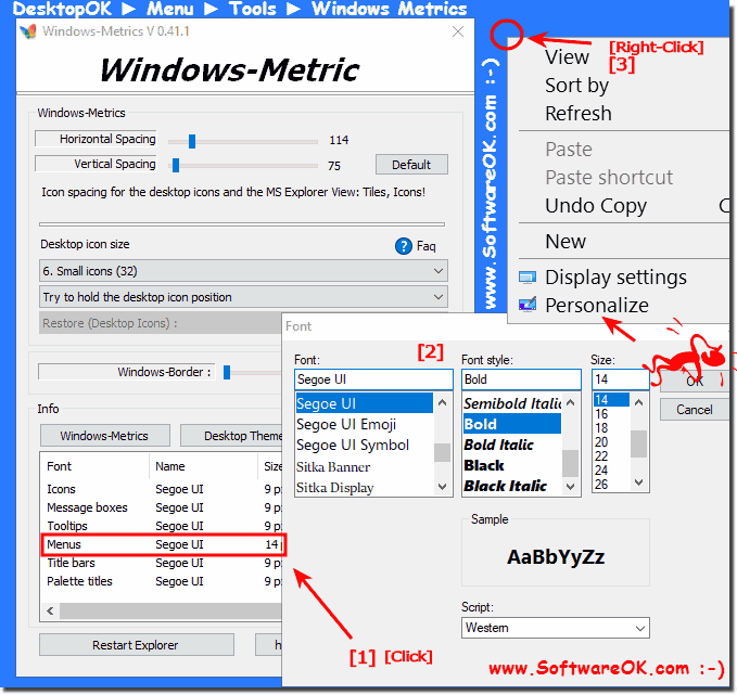 Change the System Fonts, Title, Caption, Menus, Icons in Windows!