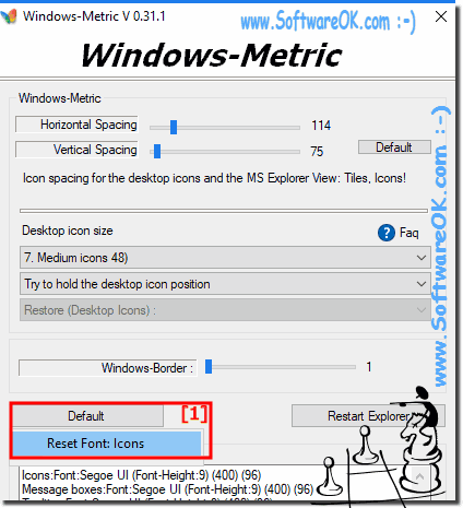 In Windows-Metric Default Reset Font: Icons