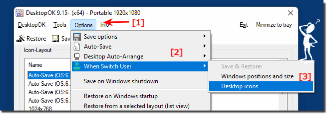 Save an Restore Desktop Icons and Windows when Switch User!