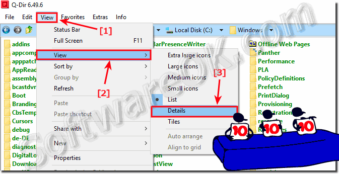 Change the list view to details In Q-Dir on Windows-10!