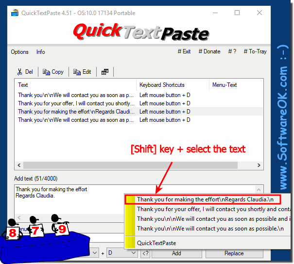 Quickly changing texts in Quick-Text-Paste via menu!