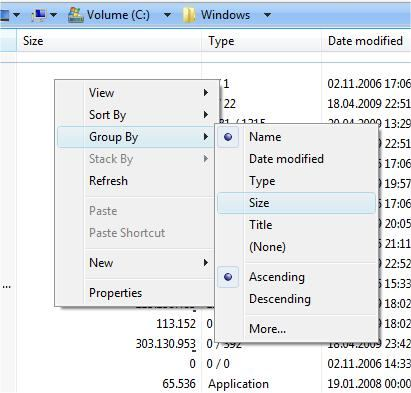 Grouping in Vista and Windows 7