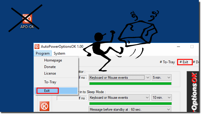 Uninstall the auto power options OK from Windows OS!