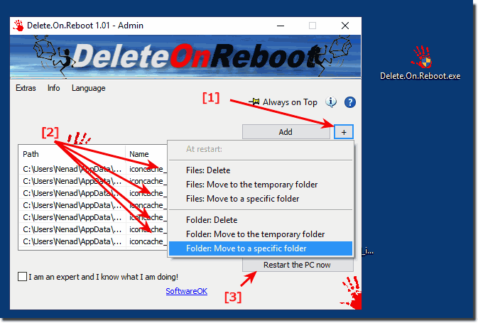 Delete files and folders when restart the Windows PC!