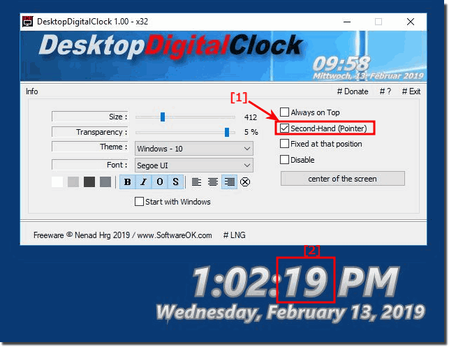 Activate the optional seconds display on the desktop!