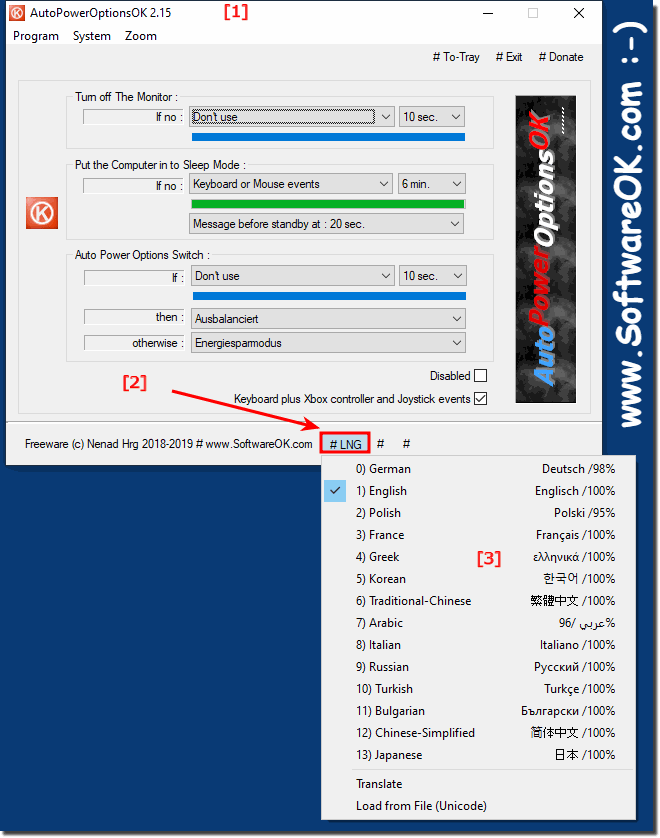 Switch the Language in Auto Power Options Tool for Windows 10, 8.1, ...!