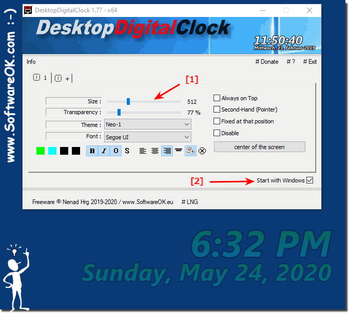 Start the digital desktop clock with all MS Windows OS!
