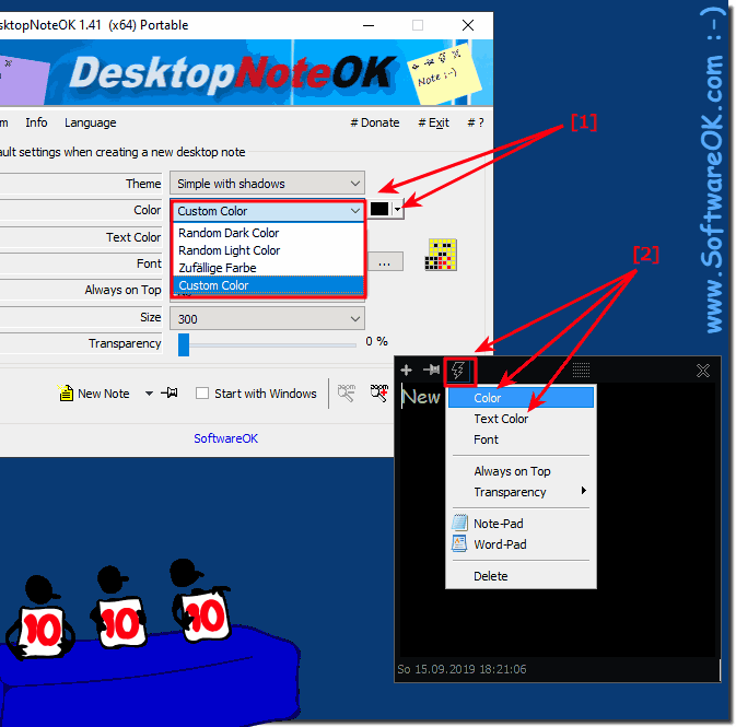 Set the color of the Desktop Sticky Note!