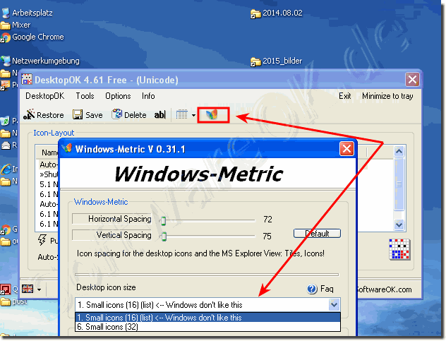 Windows Desktop Icon Size on Win XP!