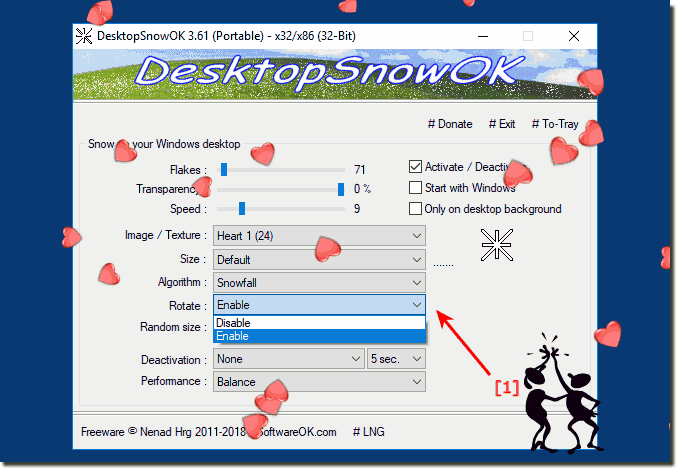 Falling and Rotating the Hearts on Windows Desktop!