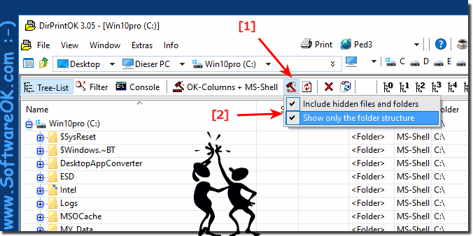 Print only the folder structure and include hidden!