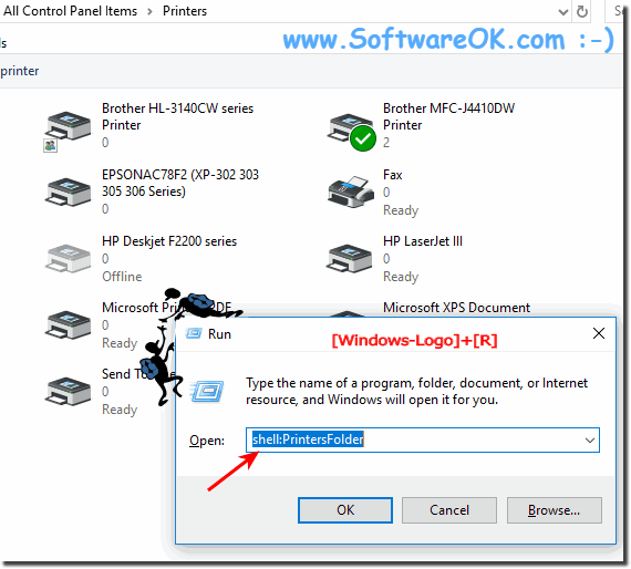 Printer folder on all MS-OS for a correct directory printout!