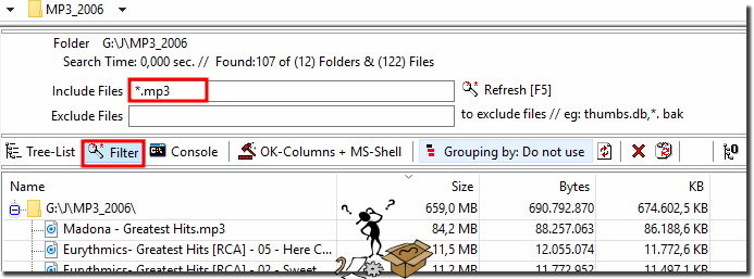 filter certain file types in the folder before print!