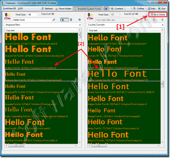 Compare the Windows-Fonts in the Font-Viewer?