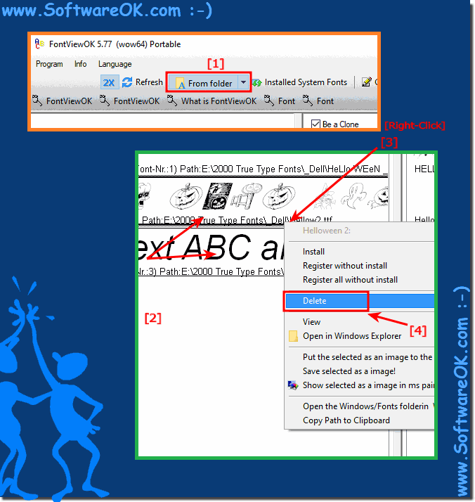 Delete fonts in FontViewOK (Windows Recycle Bin)!