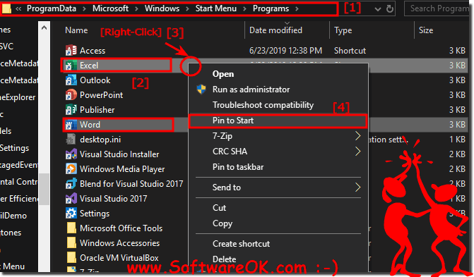 Excel, Word and MS-Office in the Windows 10 Start!