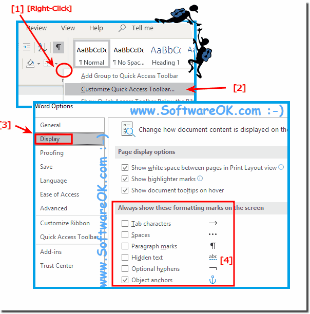 Quick Access Activate format characters in MS Word!