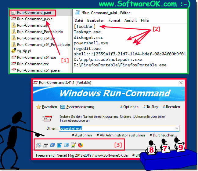 Customize Quick Launch bar with your own programs or commands!