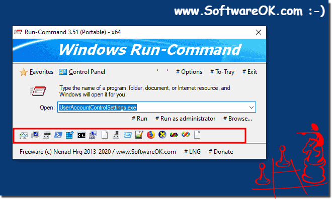 Quick launch bar for the Run dialog as an alternative for all Windows OS