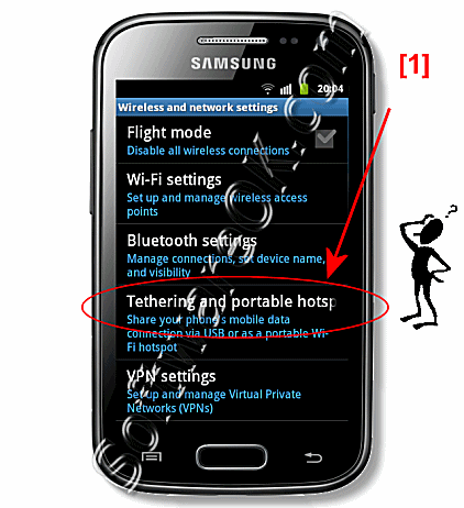Samsung-Galaxy Settings Tethering and portable Hotspot