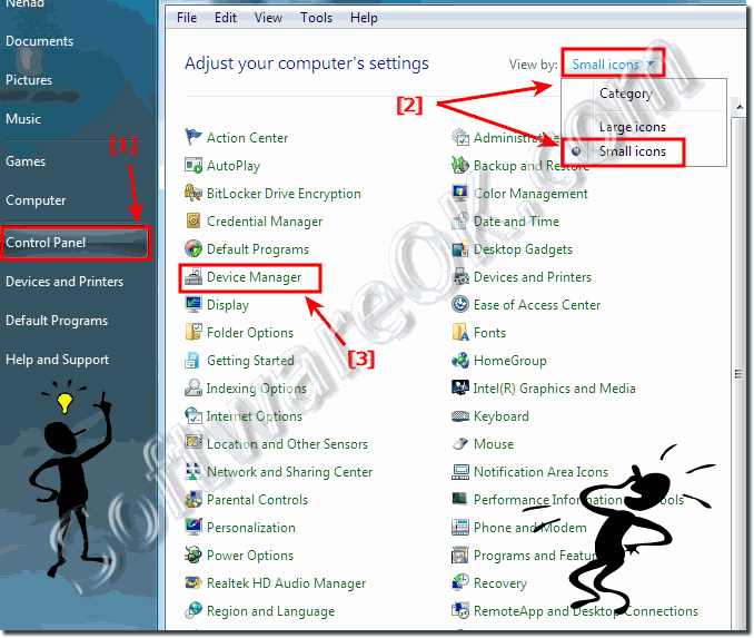 Device Manager in Windows-7 Control Panel