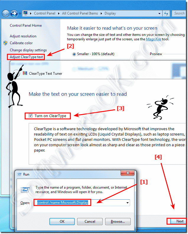 Improve the readability of text in windows-7 via Clear-Type settings!