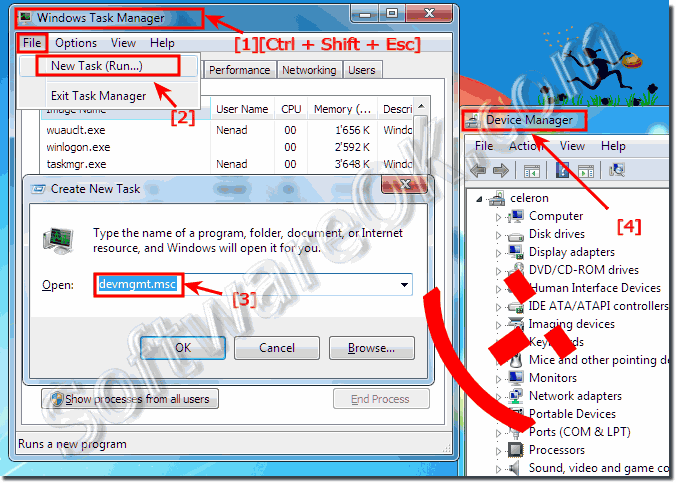 Start Device Manager via Windows-7 Task-Manager!
