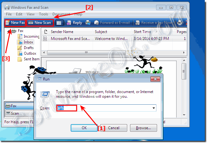Start in Windows 7, the windows fax and scan feature!