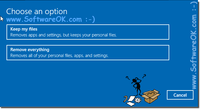 Choose reinstall options for Windows 10!