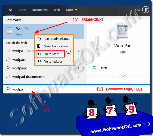 Find and Start the WordPad via Windows-10 Search-Box!