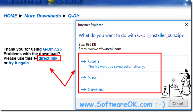 Save as before download and folder selection!