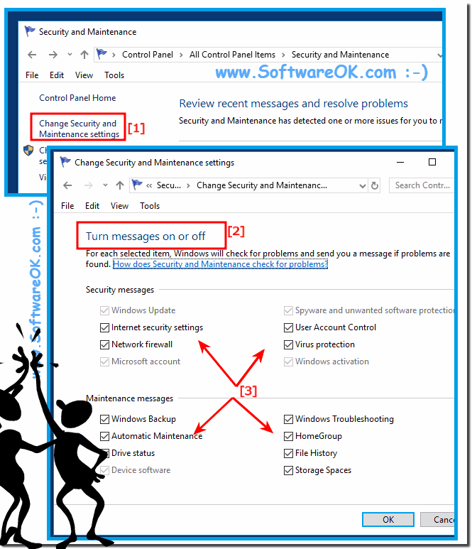 Security and Maintenance Messages under Windows 10!